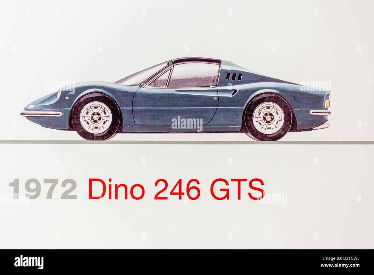 Graphic representation of a 1972 Ferrari Dino 246 GTS, Ferrari Museum, Maranello, Italy - Stock Image