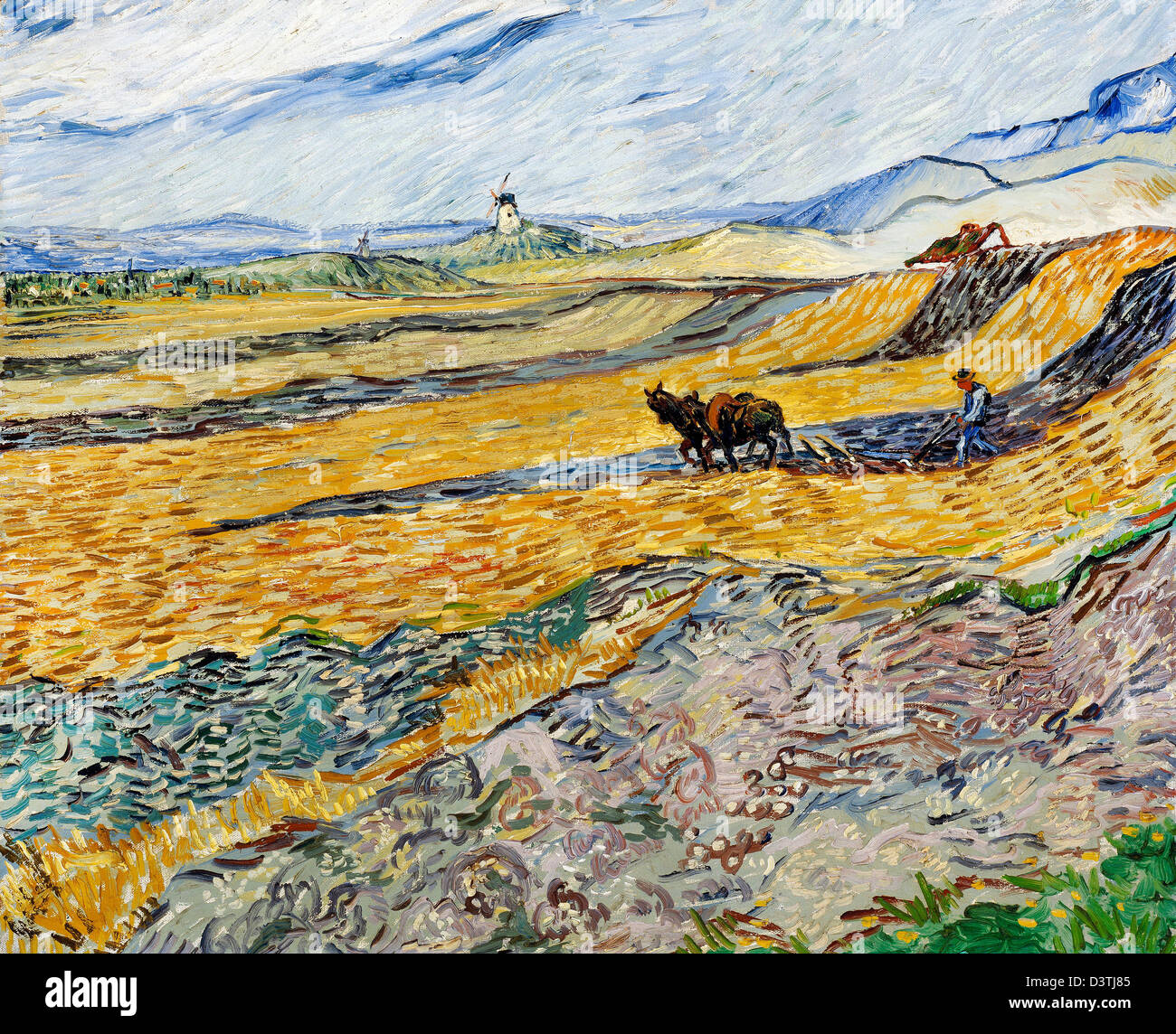 Vincent van Gogh, Enclosed Field with Ploughman 1889 Oil on canvas. Museum of Fine Arts Boston, Massachusetts - Stock Image