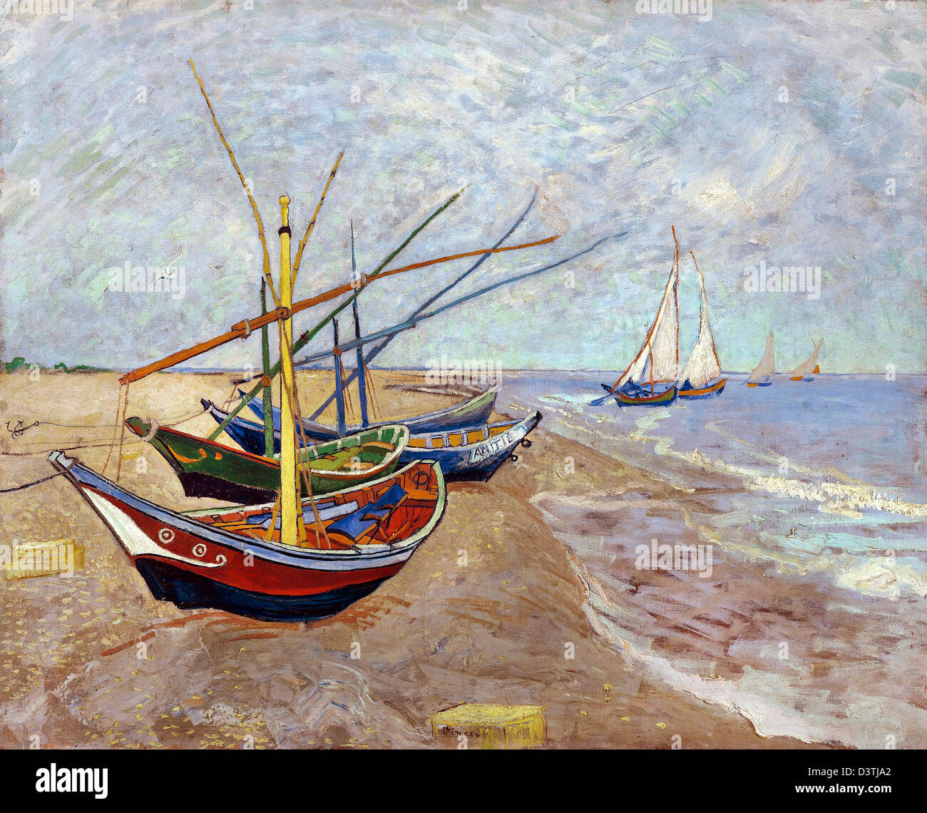 Vincent van Gogh, Fishing boats on the beach at Les Saintes-Maries-de-la-Mer 1888 Oil on canvas. Van Gogh Museum, - Stock Image