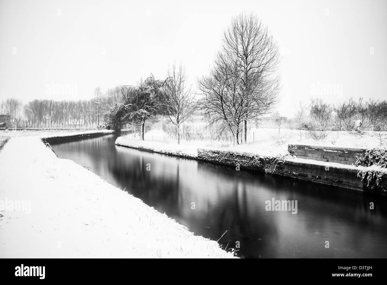 The snow on an Italian winter landscape - Stock Image