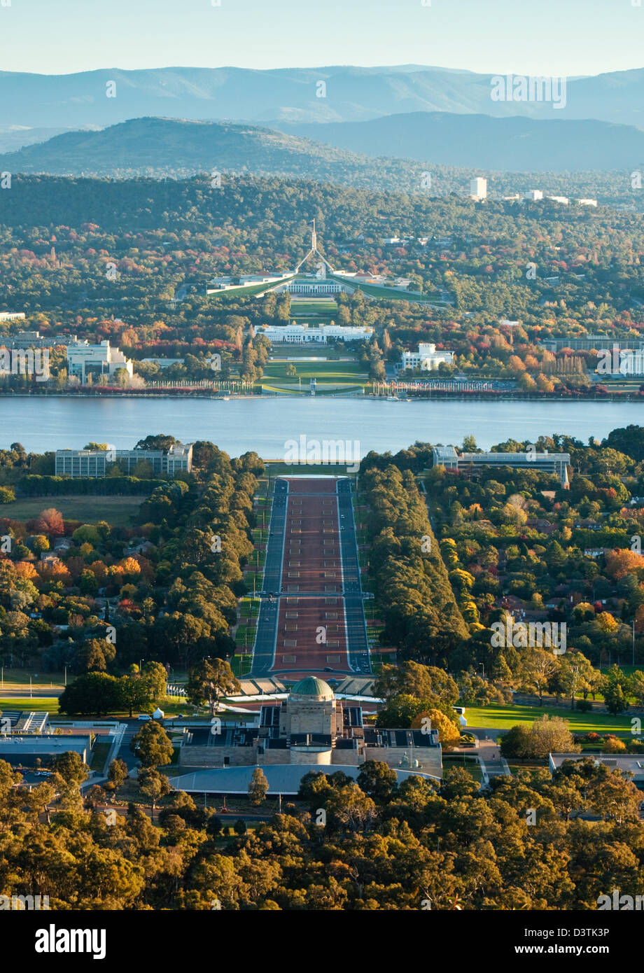 View of city from Mt Ainslie lookout.  Canberra, Australian Capital Territory (ACT), Australia - Stock Image