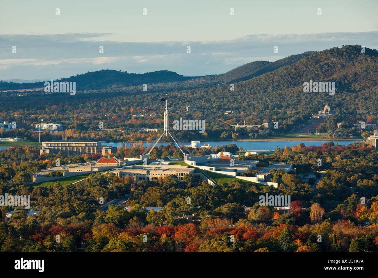View of Parliament and city skyline from Red Hill lookout. Canberra, Australian Capital Territory (ACT), Australia - Stock Image