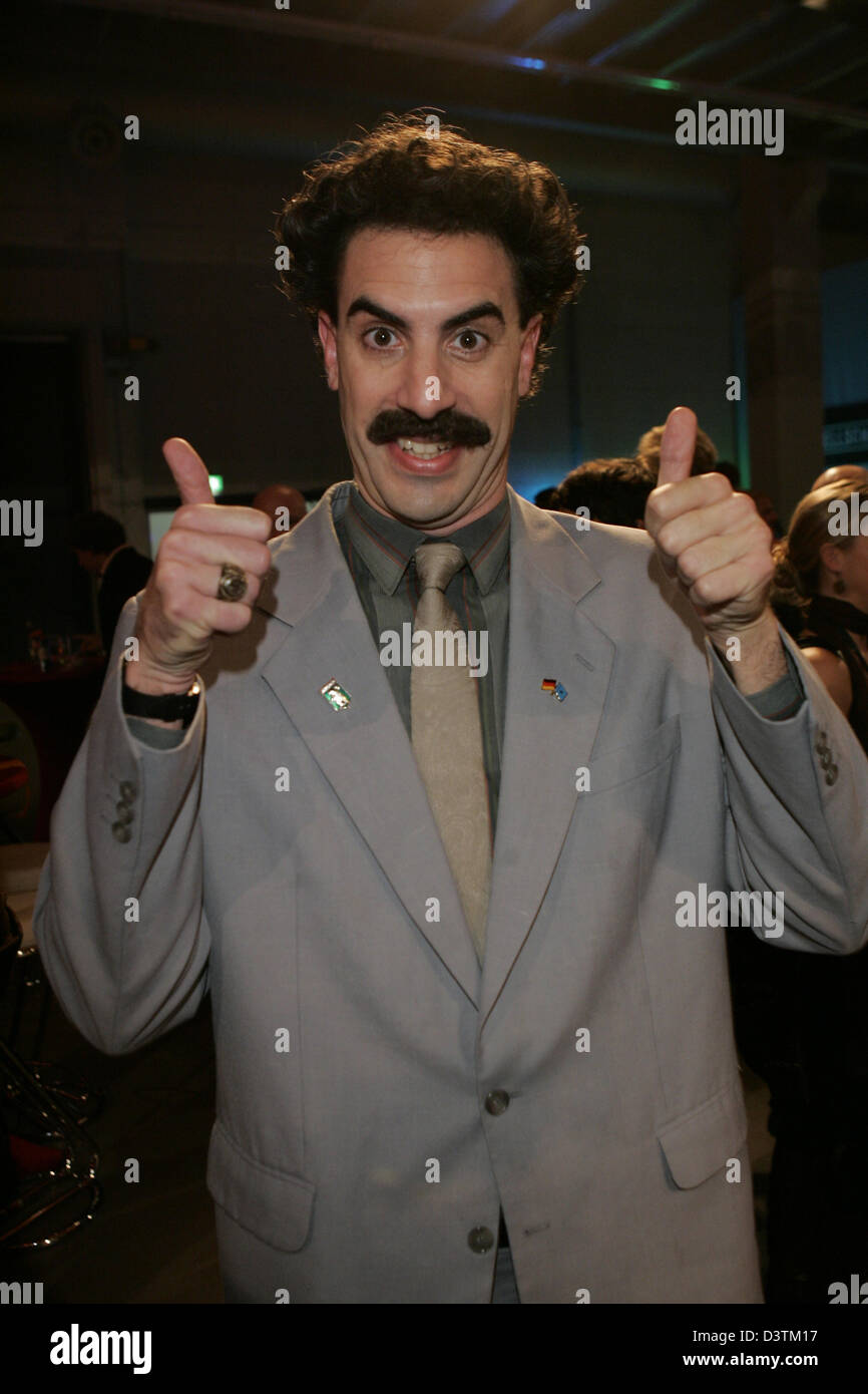 Britisch comedian Borat gestures at the after-show-party of the German Comedy Prize 2006 in Cologne, Germany, Tuesday, 10 October 2006. The prize was awarded for the eighth time in eight different categories. Photo: Joerg Carstensen (Attention: Blocking period for the annunciation of the prize winners lasts until Friday, 13 October 2006, 23:30.) Stock Photo