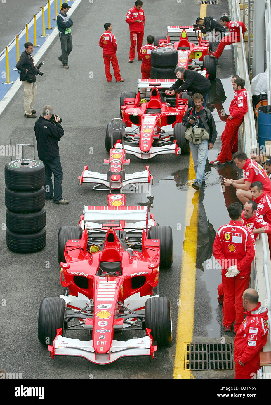 Ferrari Racing Cars Line Up In The Pitlane At The Interlagos Racetrack Near  Sao Paulo, Brazil, Thursday, 19 October 2006. The Brazilian Grand Prix Will  Take ...