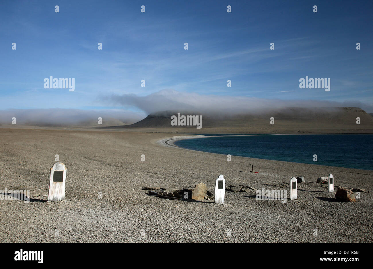 The picture shows the tombstones of the crew of British arctic explorer Sir John Franklin on Beechey Island, Canada, - Stock Image