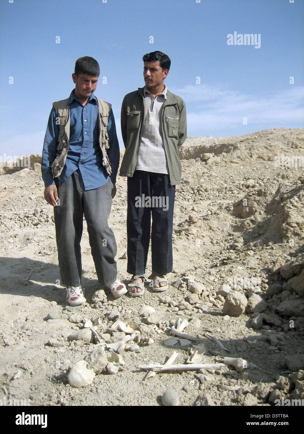 Najib and Ibrahim pictured with remains at the bone field near Kabul, Afghanistan, 08 November 2006. The bone field - Stock Image