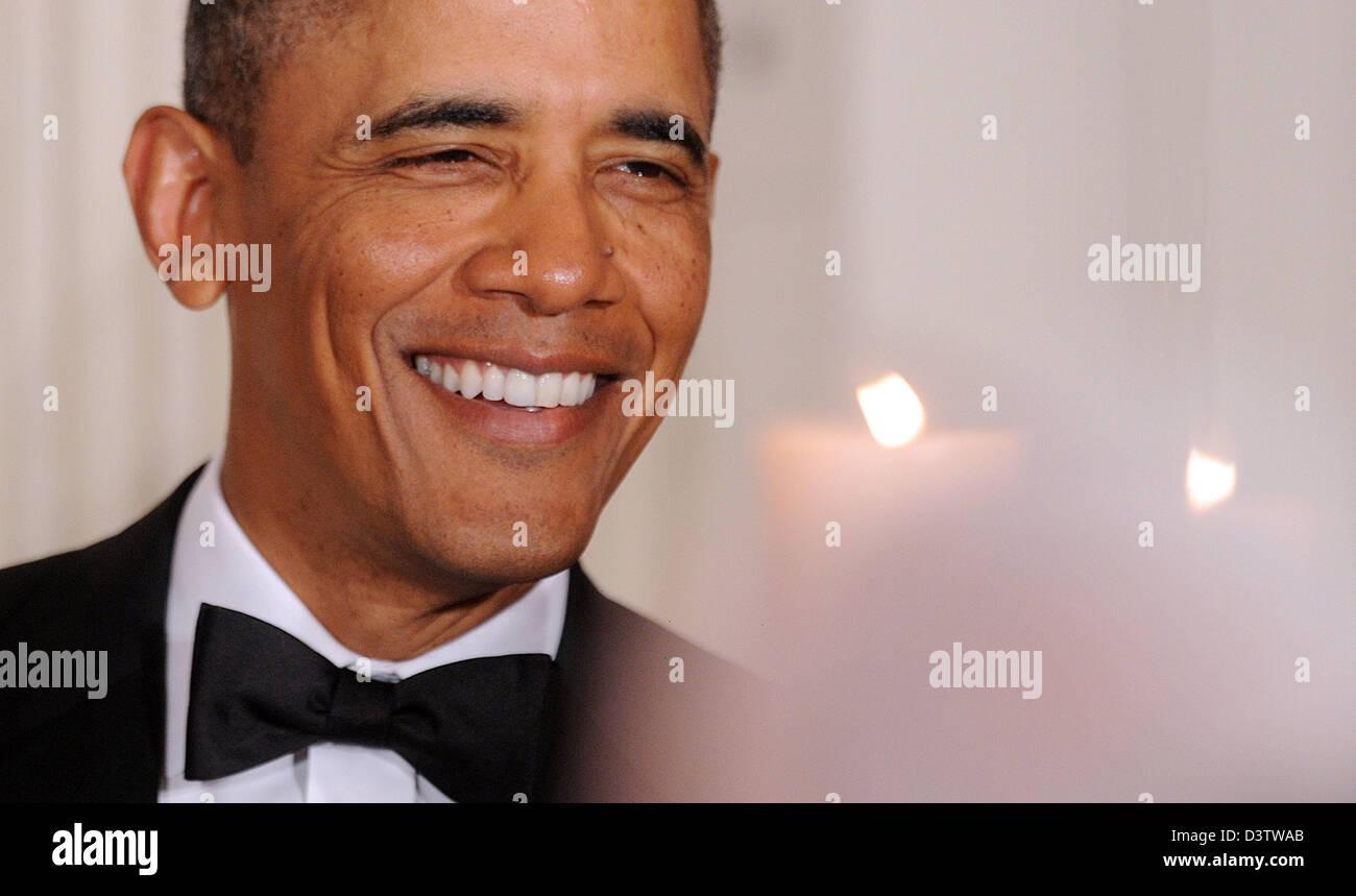 Washington DC, USA. 24th February 2013. United States President Barack Obama smiles during the National Governors - Stock Image