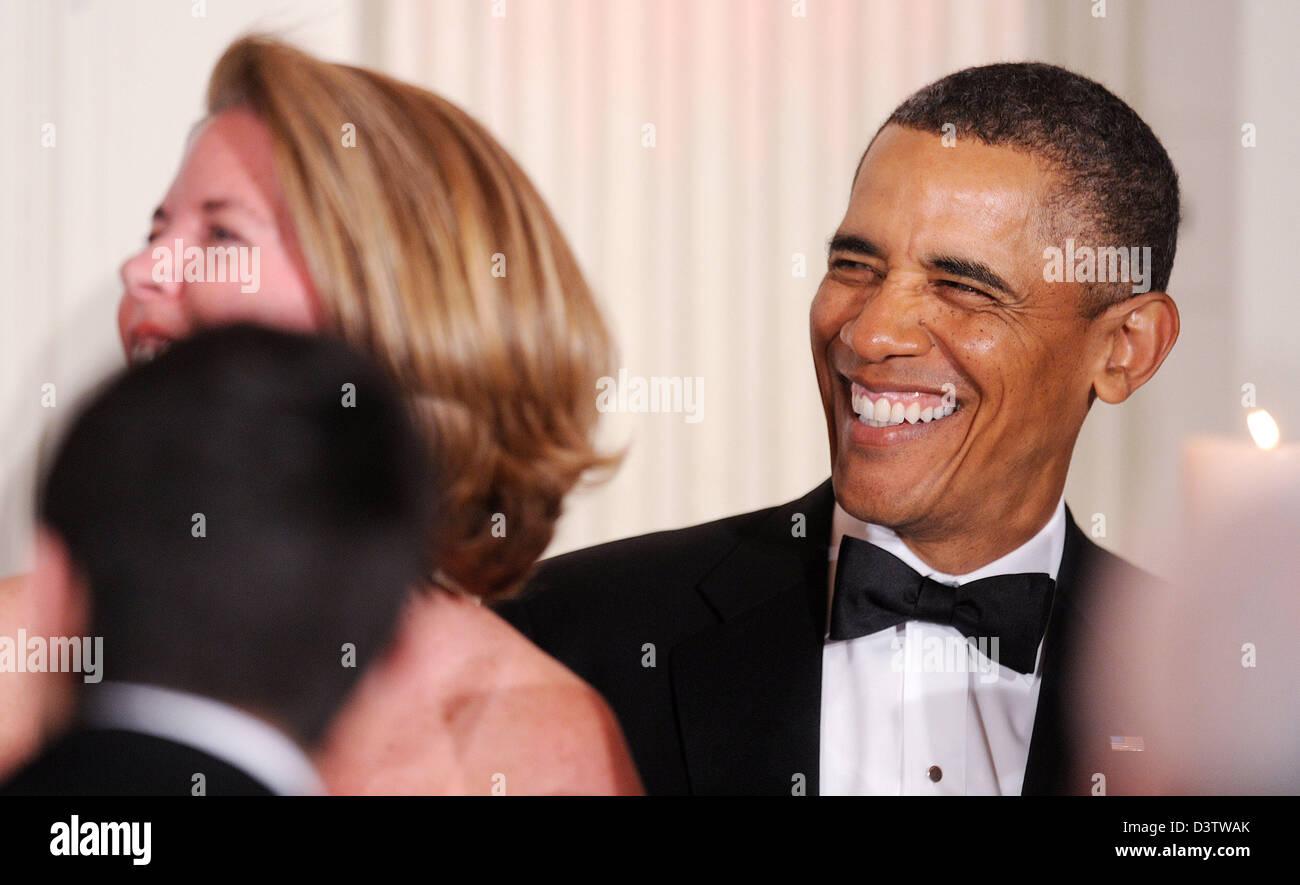 Washington DC, USA. 24th February 2013. United States President Barack Obama laughs during the National Governors - Stock Image