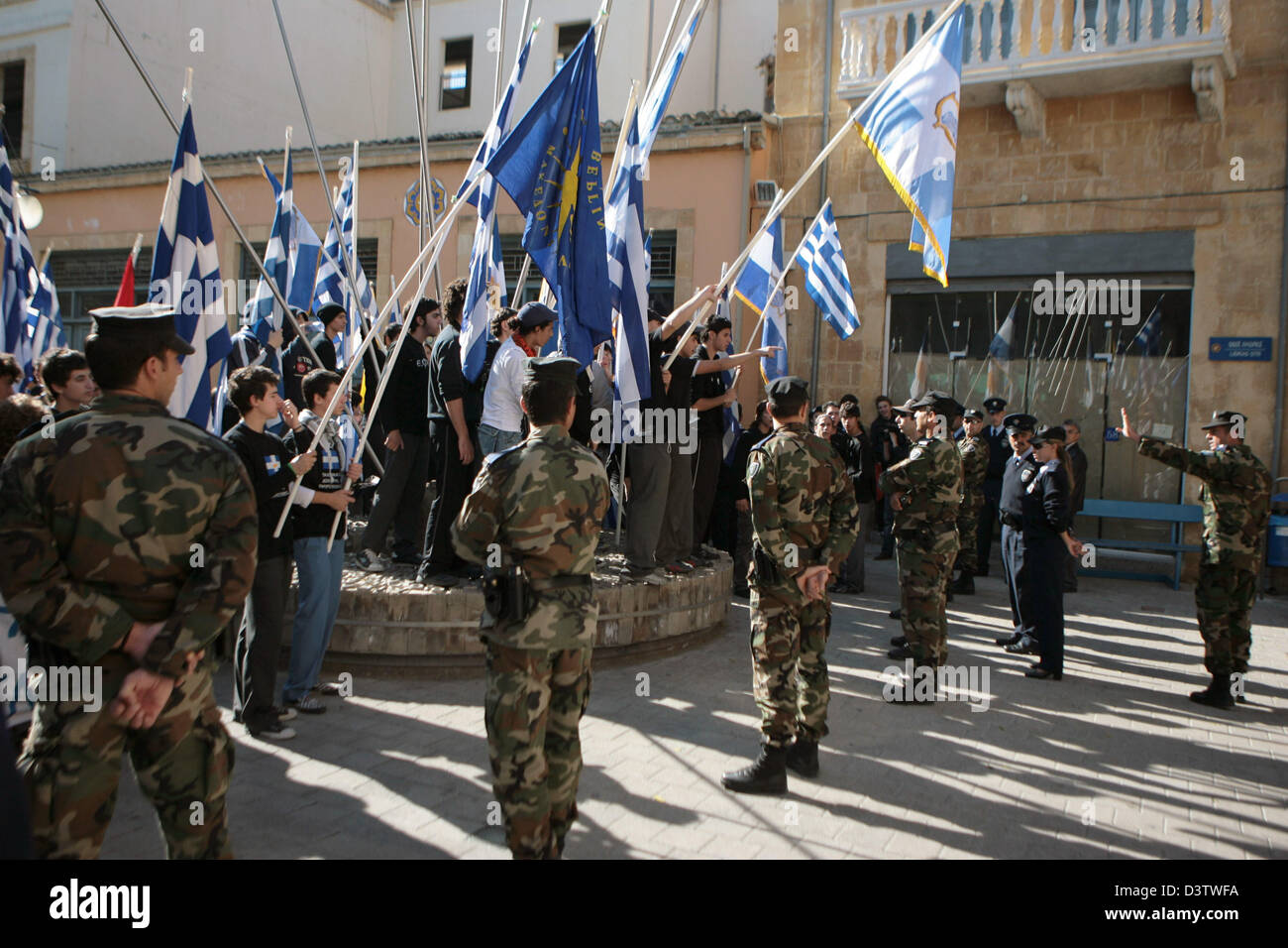 Young Greeks rally at the border in the Greek part of