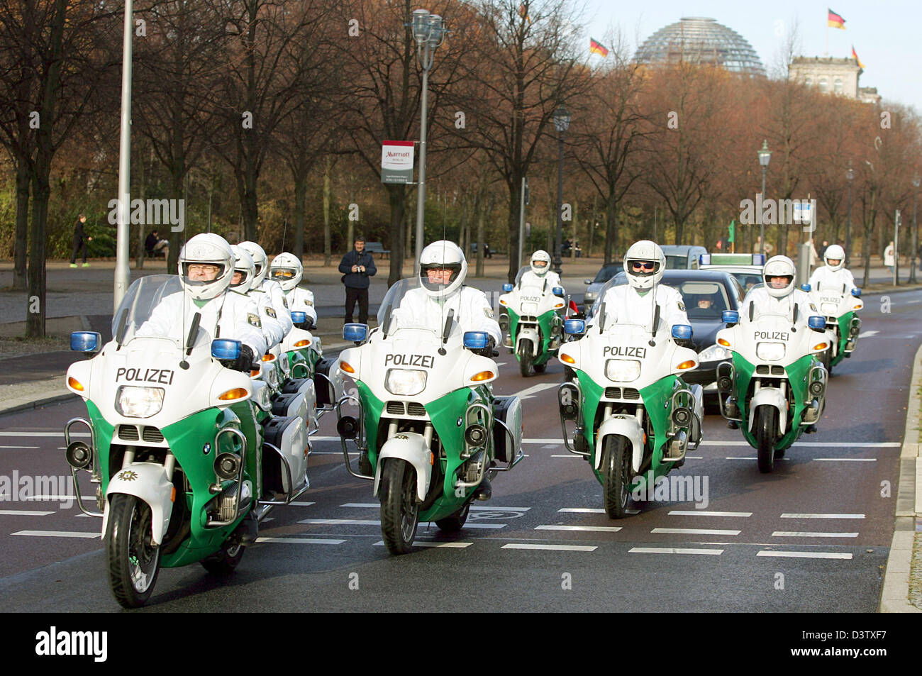 A Motorcycle Police Echelon Aka White Mice Escorts A Political Guest In Berlin Germany  Photo Gero Breloer