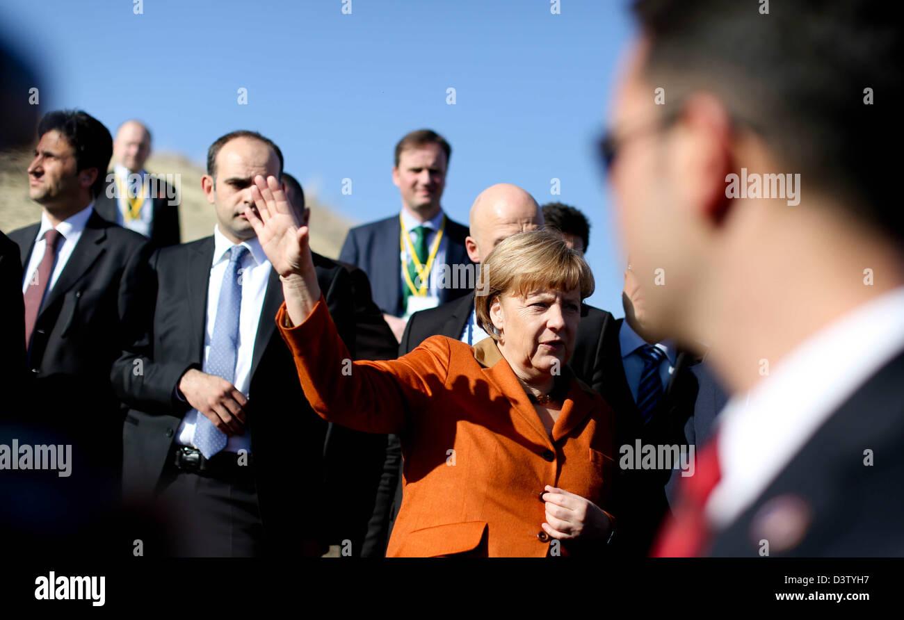 German Chancellor Angela Merkel visits the national park Goereme in Turkey, 25 February 2013. Merkel then travels Stock Photo