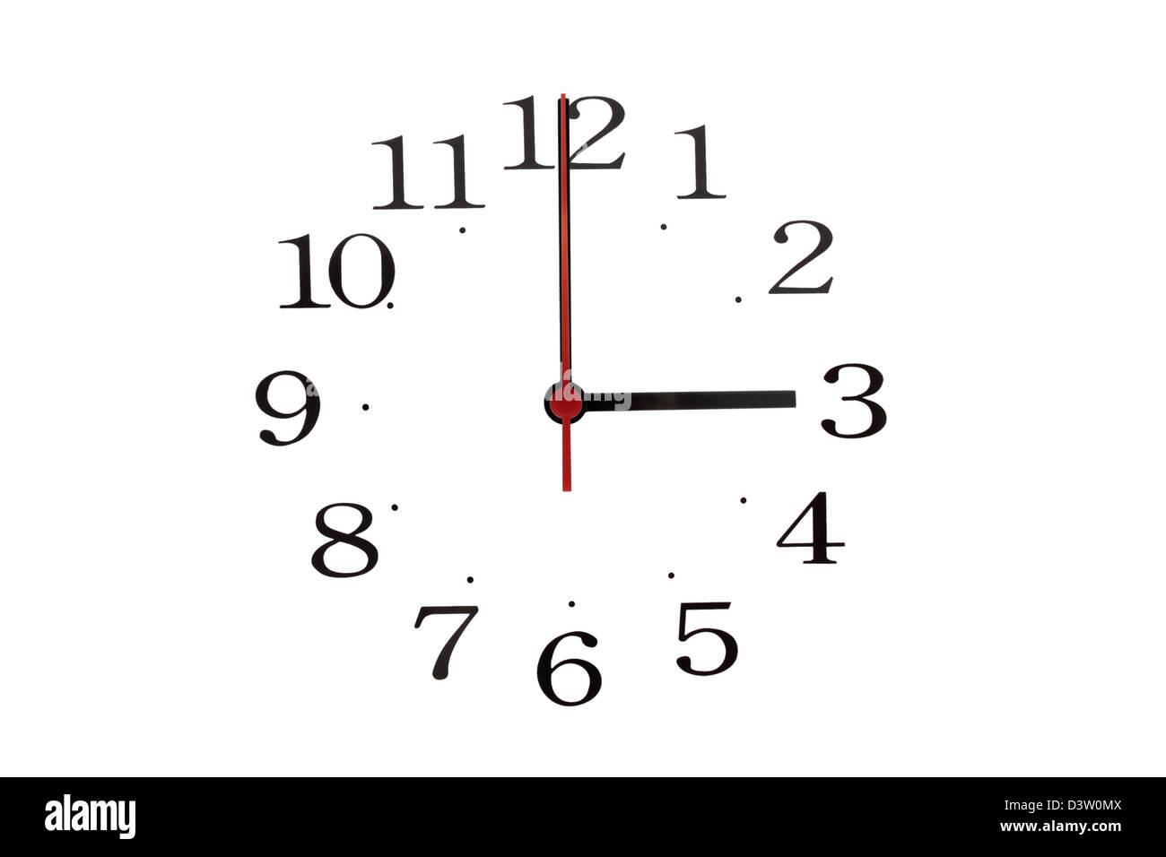 Just the hands and numbers from a clock reading 03:00 - Stock Image