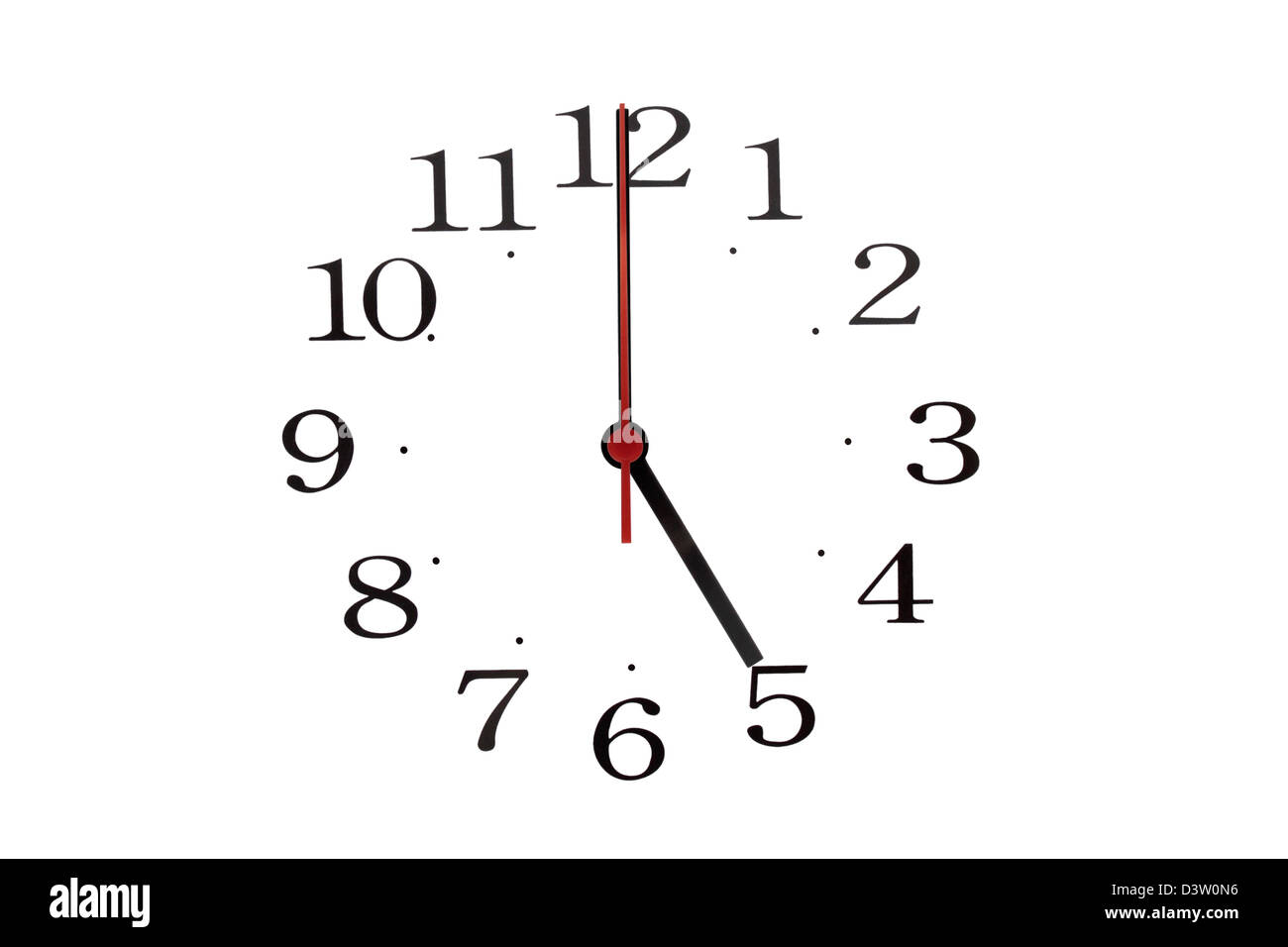 Just the hands and numbers from a clock reading 05:00 - Stock Image