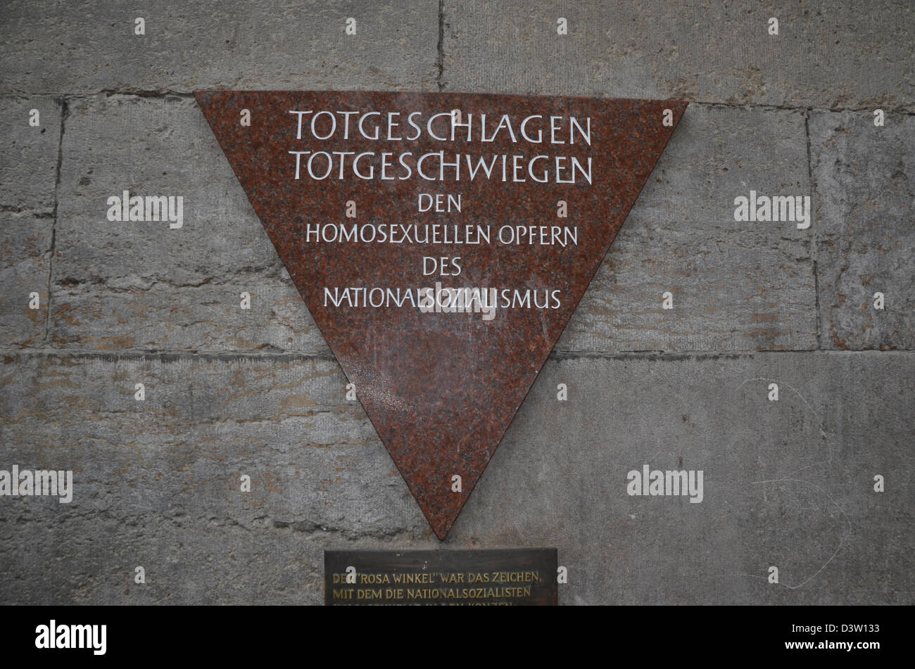 Germany, Berlin, Nollendorfplatz, The gay pink triangle Memorial plaque for the homosexuals murdered by the Nazi regime Stock Photo
