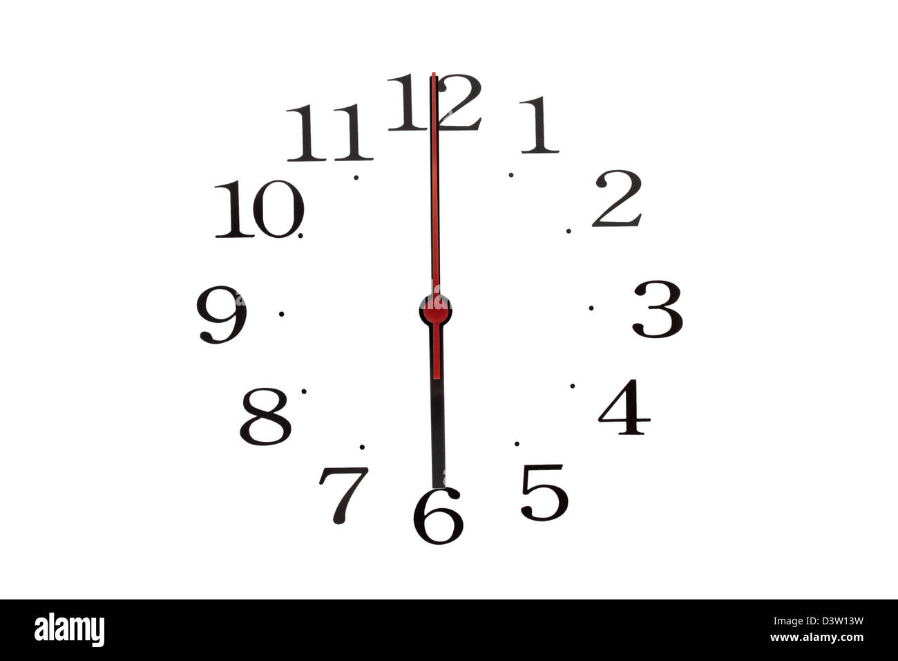 Just the hands and numbers from a clock reading 06:00 - Stock Image