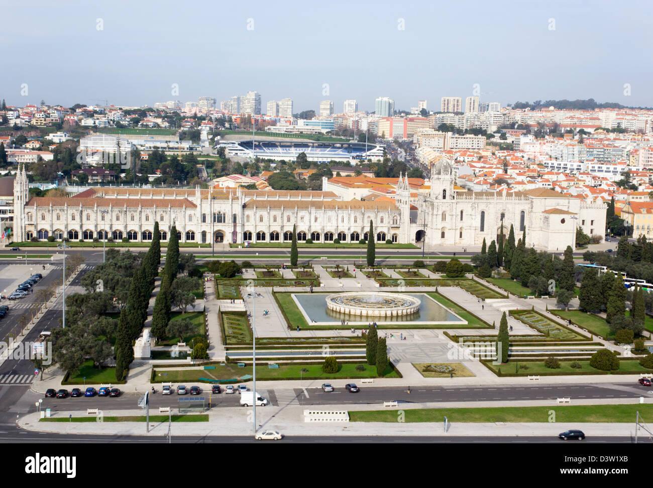 Lisbon, Portugal. View from the top of Padrão dos Descobrimentos, - Stock Image