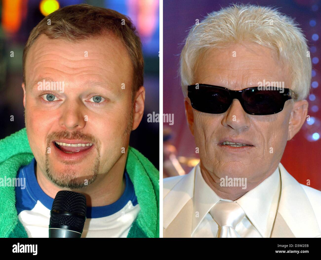 (dpa files) - The combo of archived pictures show TV host Stefan Raab (L, 25 November 2005) and folk singer Heino - Stock Image
