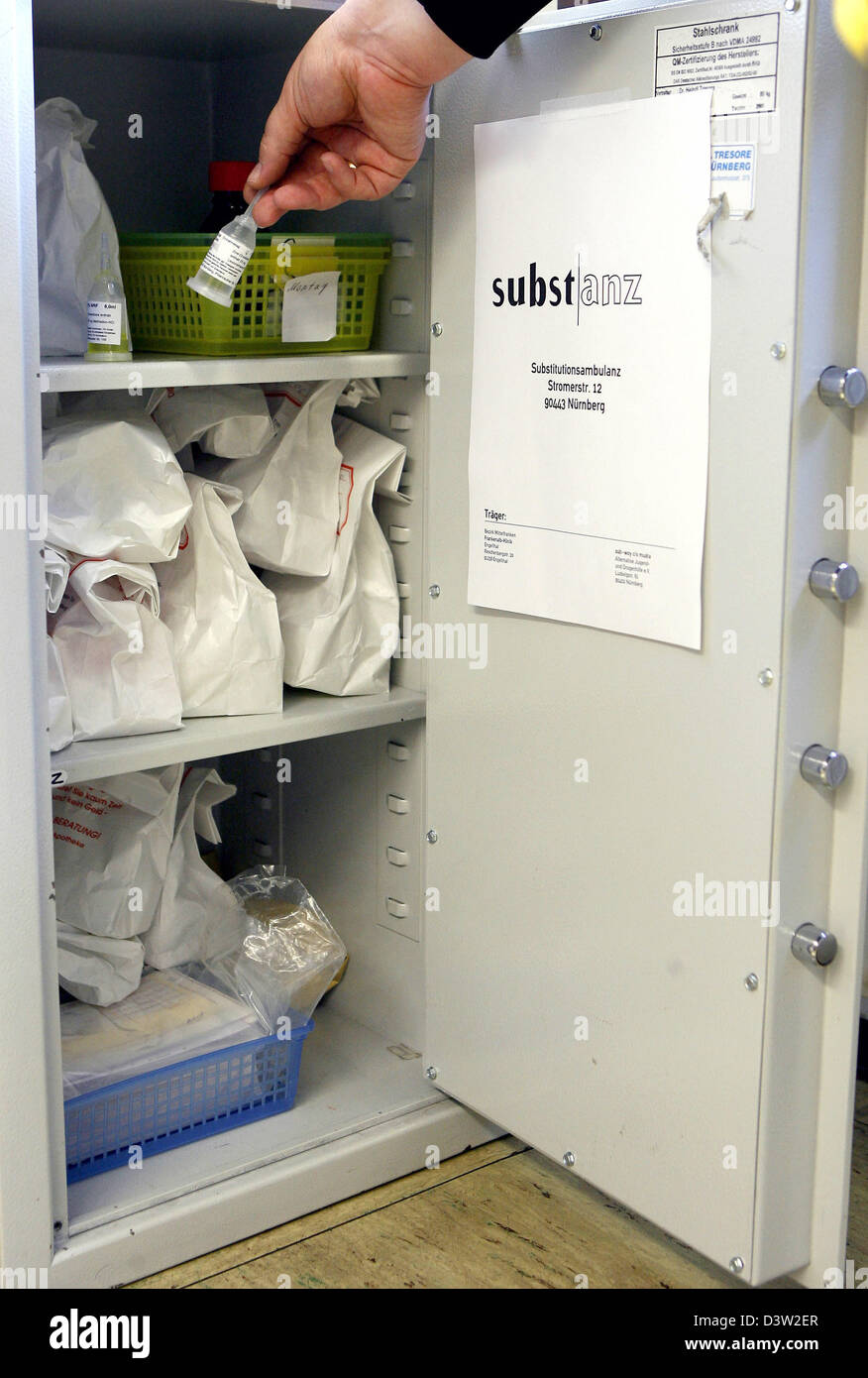 Substitutions such as methadone and polamidone are kept in a safe in the substitution clinic 'Substance' - Stock Image
