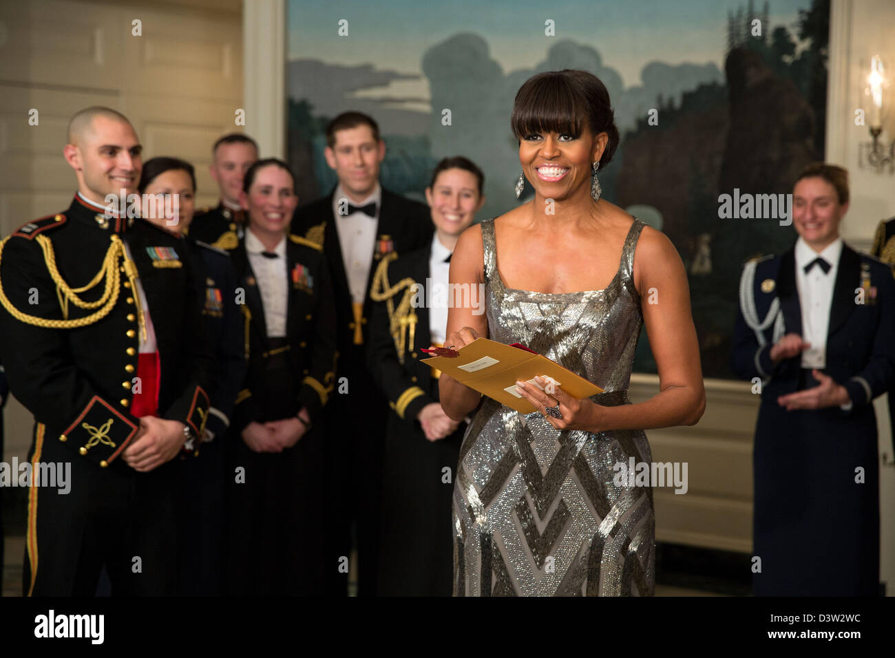 Washington DC, USA. 24th February 2013. US First Lady Michelle Obama announces the Best Picture Oscar which was - Stock Image