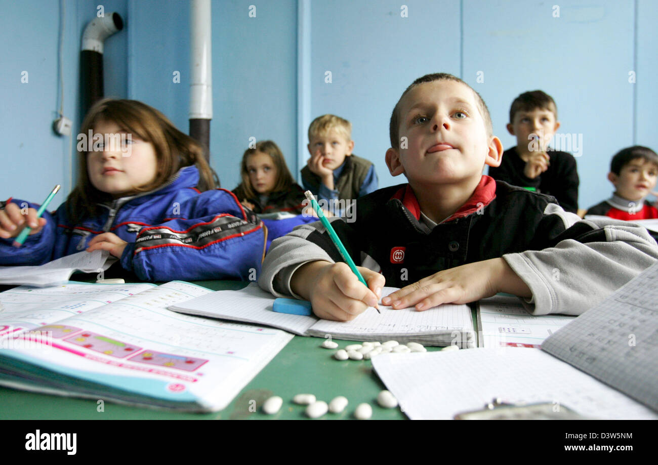 The picture shows pupils in a classroom of a school in Nebregoste, Republic of Serbia, Wednesday, 13 December 2006. - Stock Image