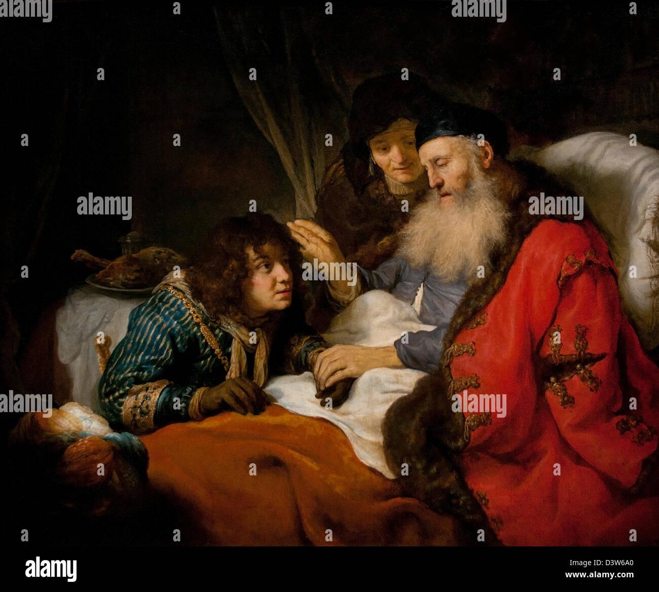 Isaac blessing Jacob 1638 Govert Flinck Dutch Netherlands - Stock Image