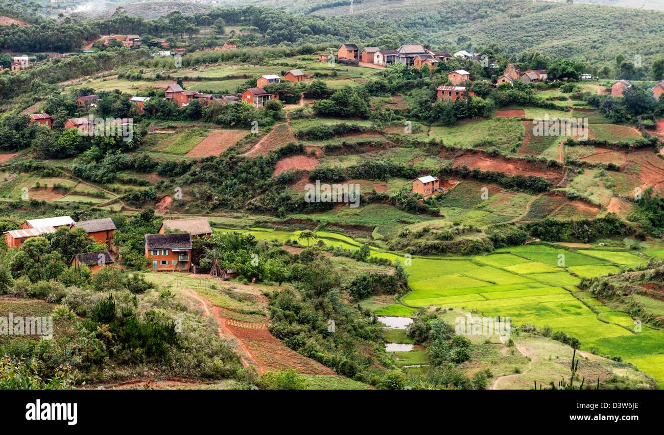 Houses Highlands Madagascar Africa - Stock Image