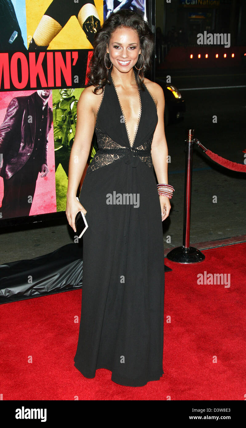 US singer Alicia Keys arrives to the premiere of the film 'Smokin' Aces' in Hollywood, CA, United States, - Stock Image