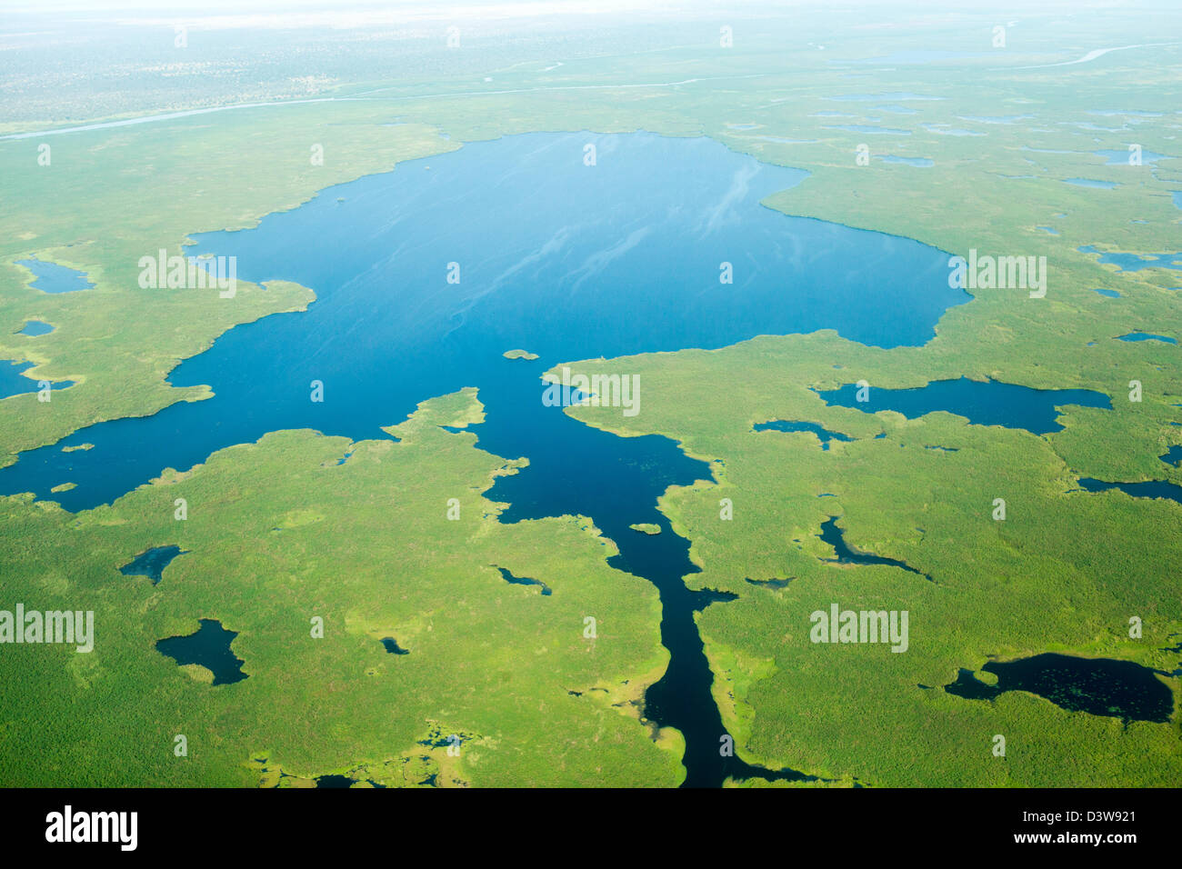 JUBA, SOUTH SUDAN, 19th November 2012: Aerial views over White Nile on journey to Bor. - Stock Image