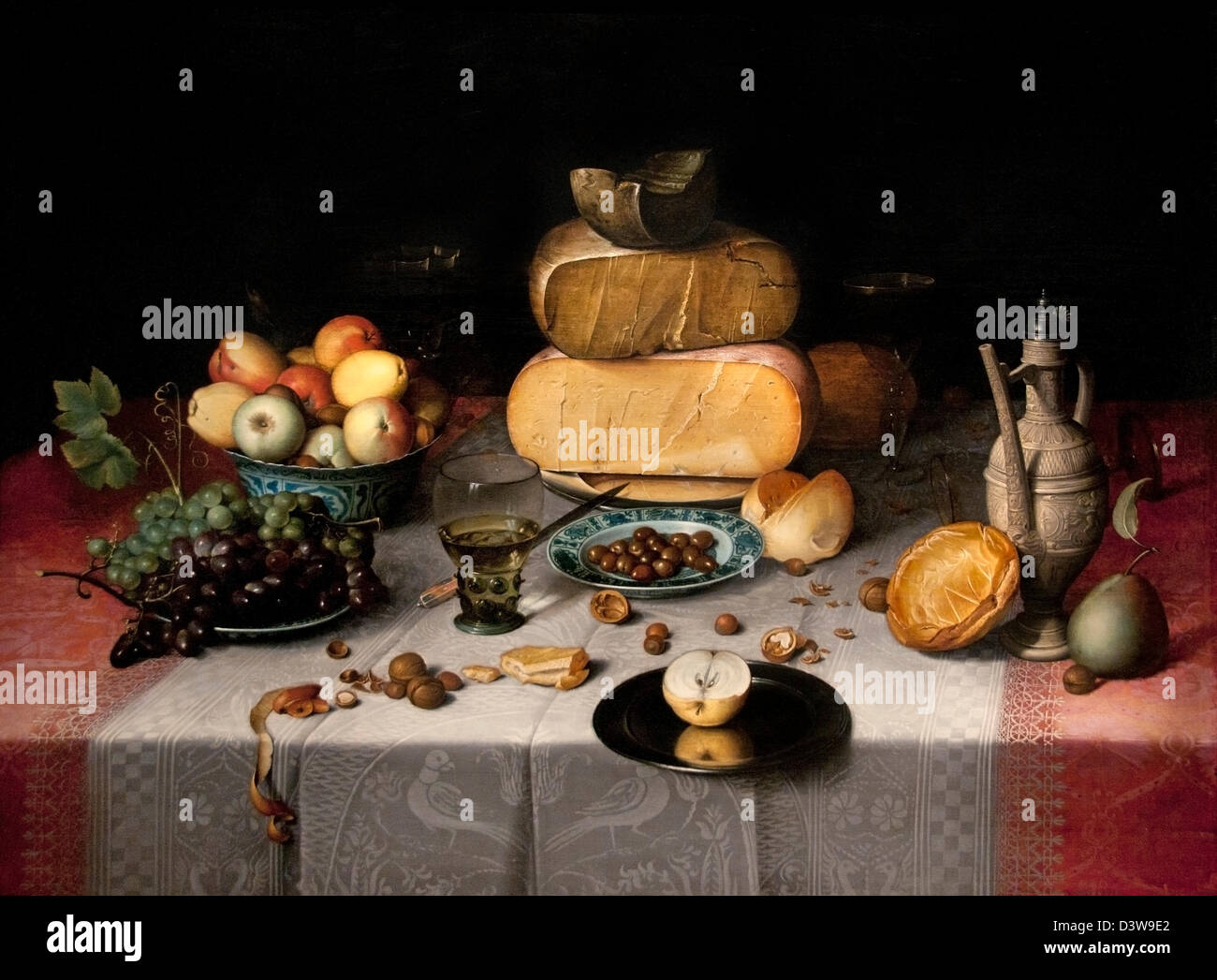 Still life with cheeses 1615 Floris van Dijck Dutch Netherlands - Stock Image