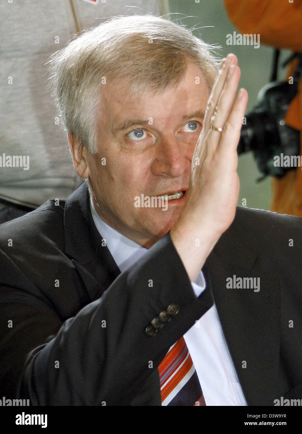 Agriculture Minister Horst Seehofer (CSU) gestures prior to a meeting of the federal cabinet at the Chancellery - Stock Image