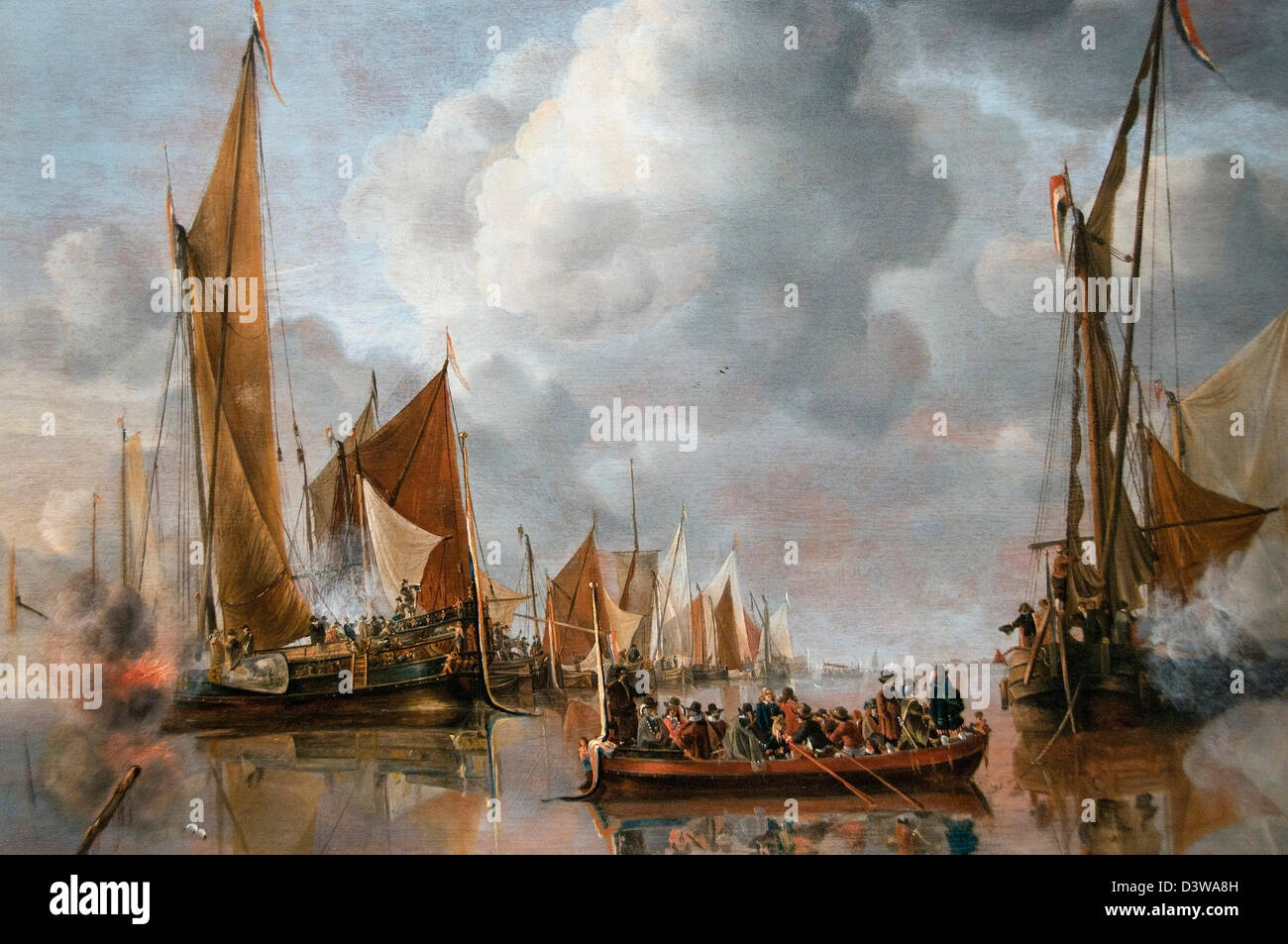 The home fleet saluting the state barge 1650 Jan van Capelle Dutch Netherlands ( fragment ) - Stock Image