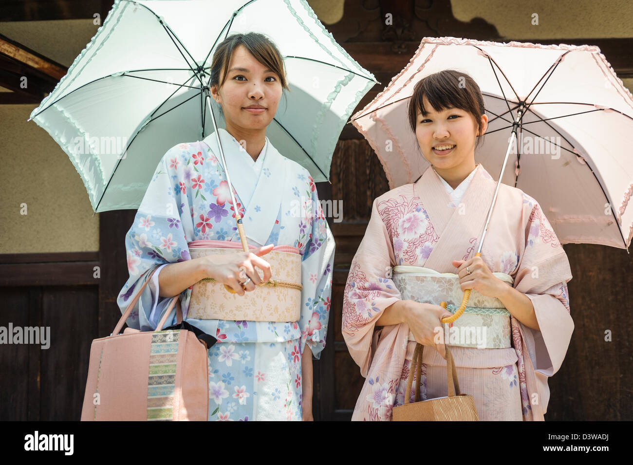 Women dressed with  kimono in the streets of Kyoto, Japan, Asia Stock Photo