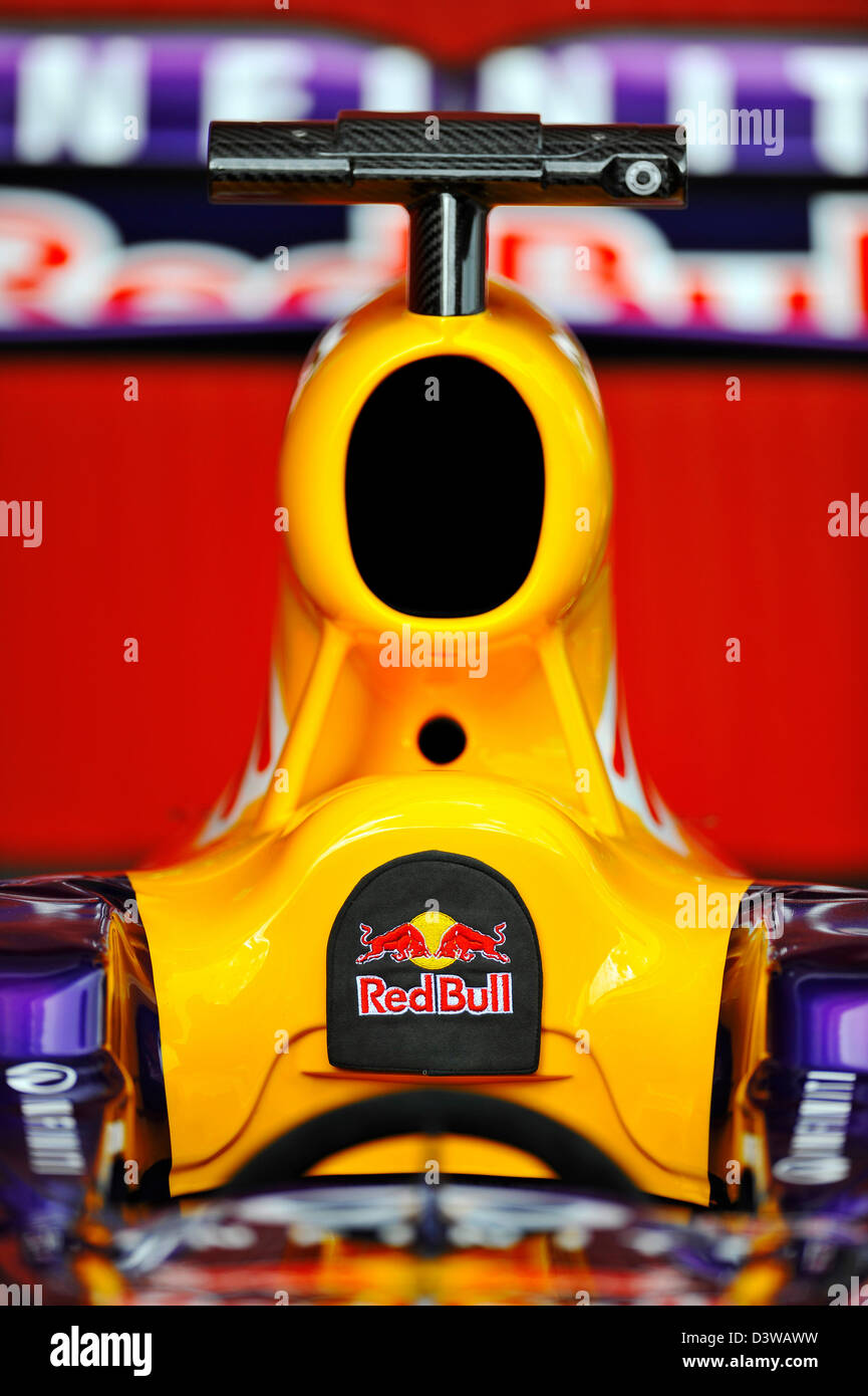 Red Bull Cockpit during Formula One tests on Circuit de Catalunya racetrack near Barcelona, Spain in February 2013 - Stock Image