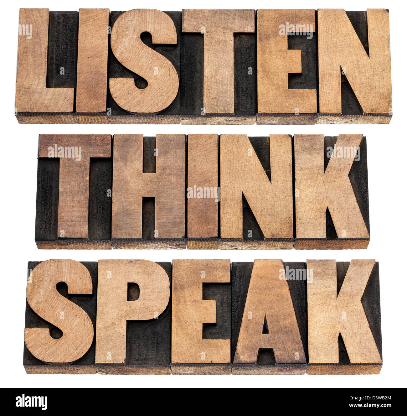 listen, think, speak - communication concept - isolated text in vintage letterpress wood type printing blocks - Stock Image
