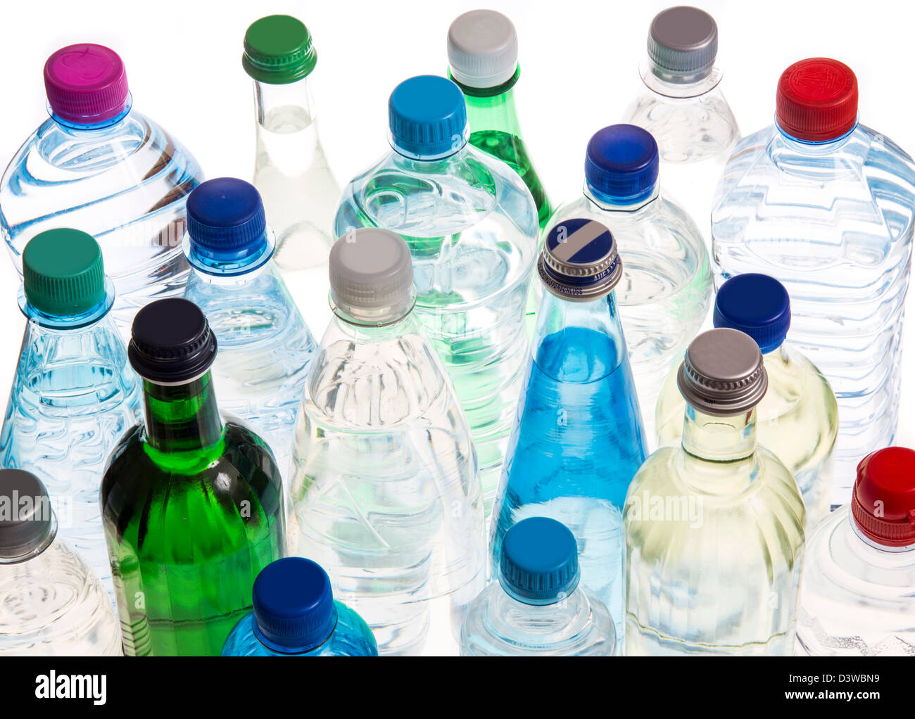 Different types of bottled mineral and table waters. Stock Photo