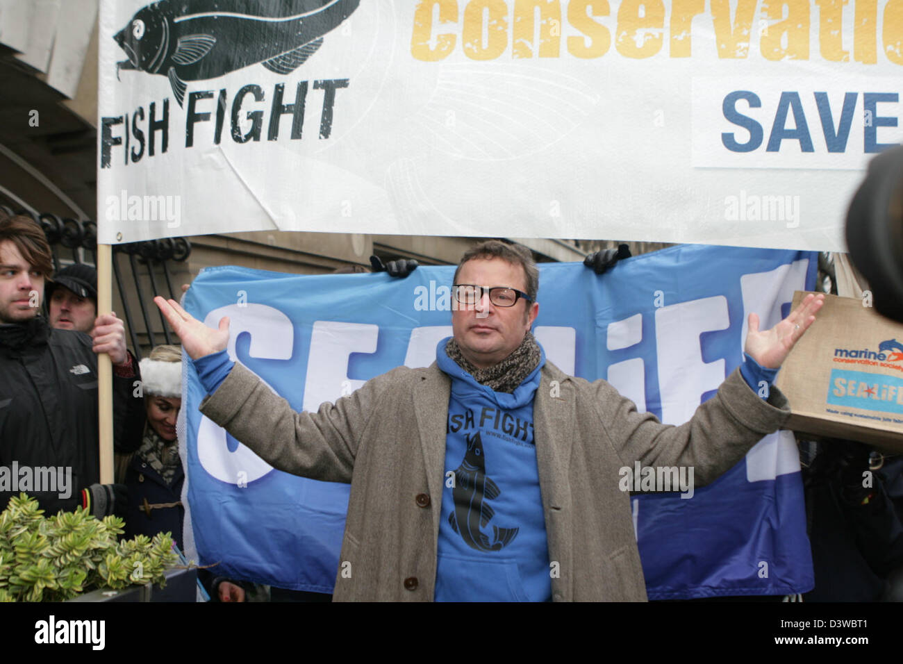 Chef Hugh Fearnley-Whittingstall in conjunction with the Marine Conservation Society, Sealife and the British Sub - Stock Image