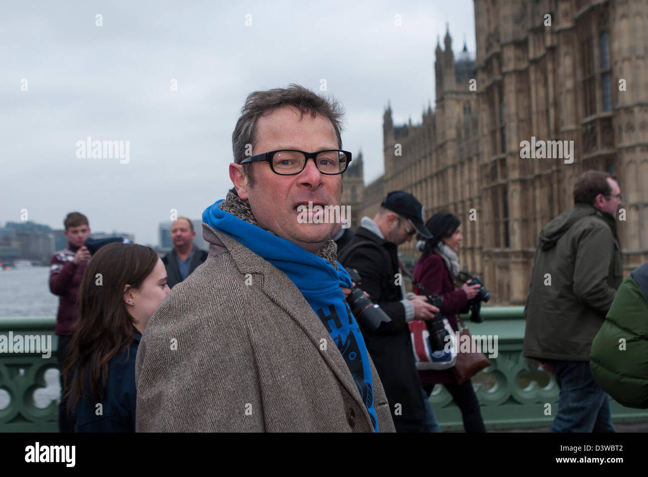 Chef Hugh Fearnley-Whittingstall crosses Westminster bridge to rally in conjunction with the Marine Conservation - Stock Image