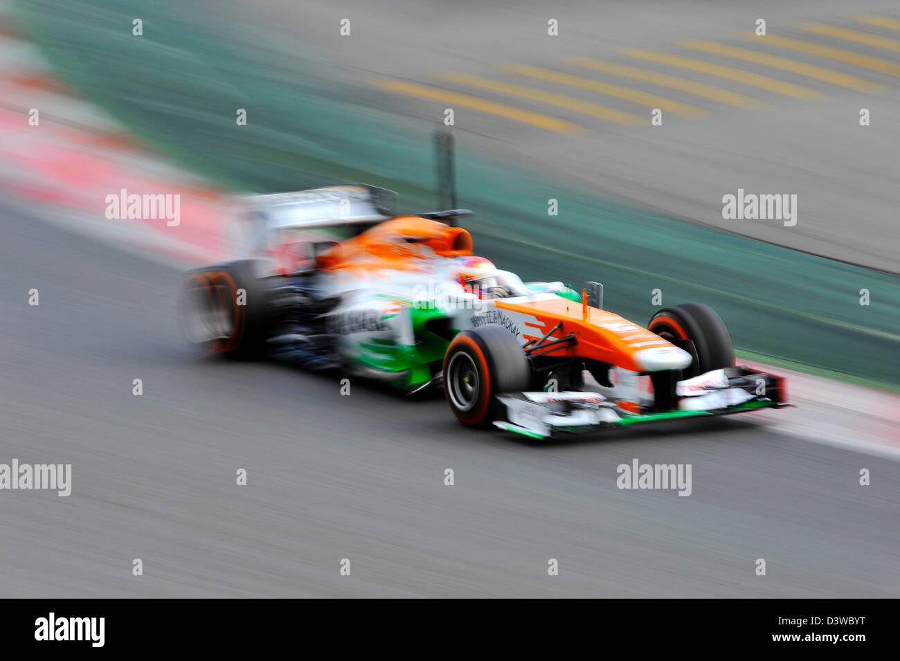 Paul Di Resta (SCO), Force India VJM06 during Formula One tests on Circuit de Catalunya racetrack near Barcelona, - Stock Image