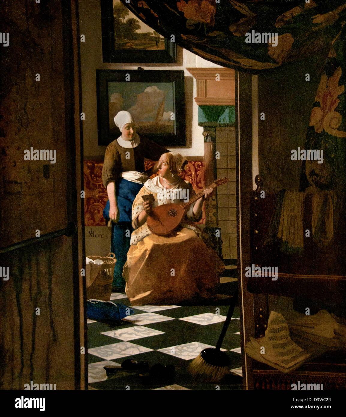 The love Letter 1669 Johannes Vermeer or Jan Vermeer 1632 - 1675 Dutch Netherlands - Stock Image