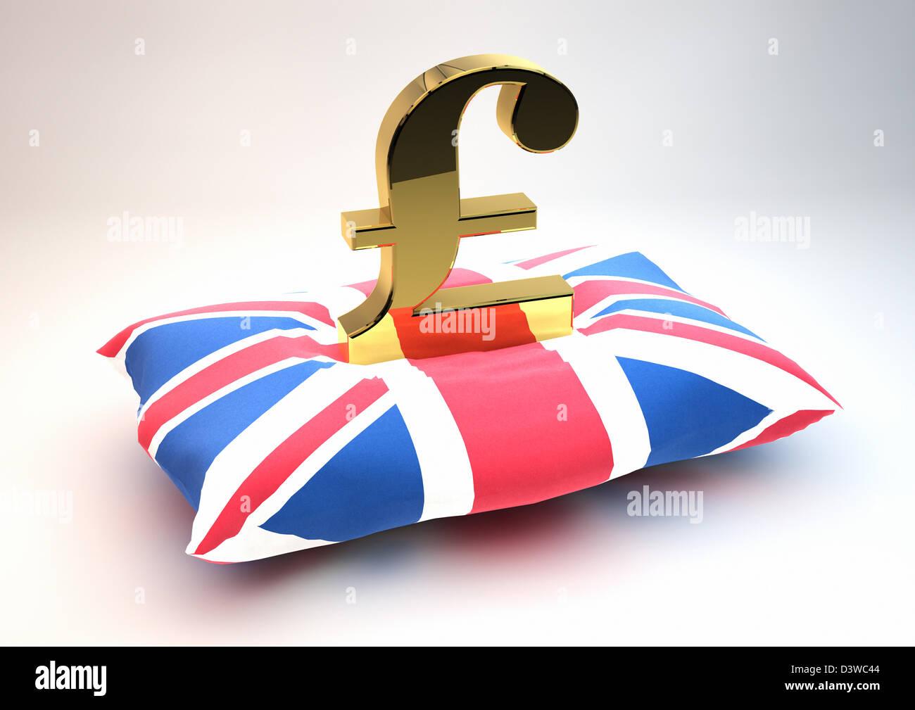 Solid Gold British Pound Symbol Sitting On A Union Jack Flag Stock