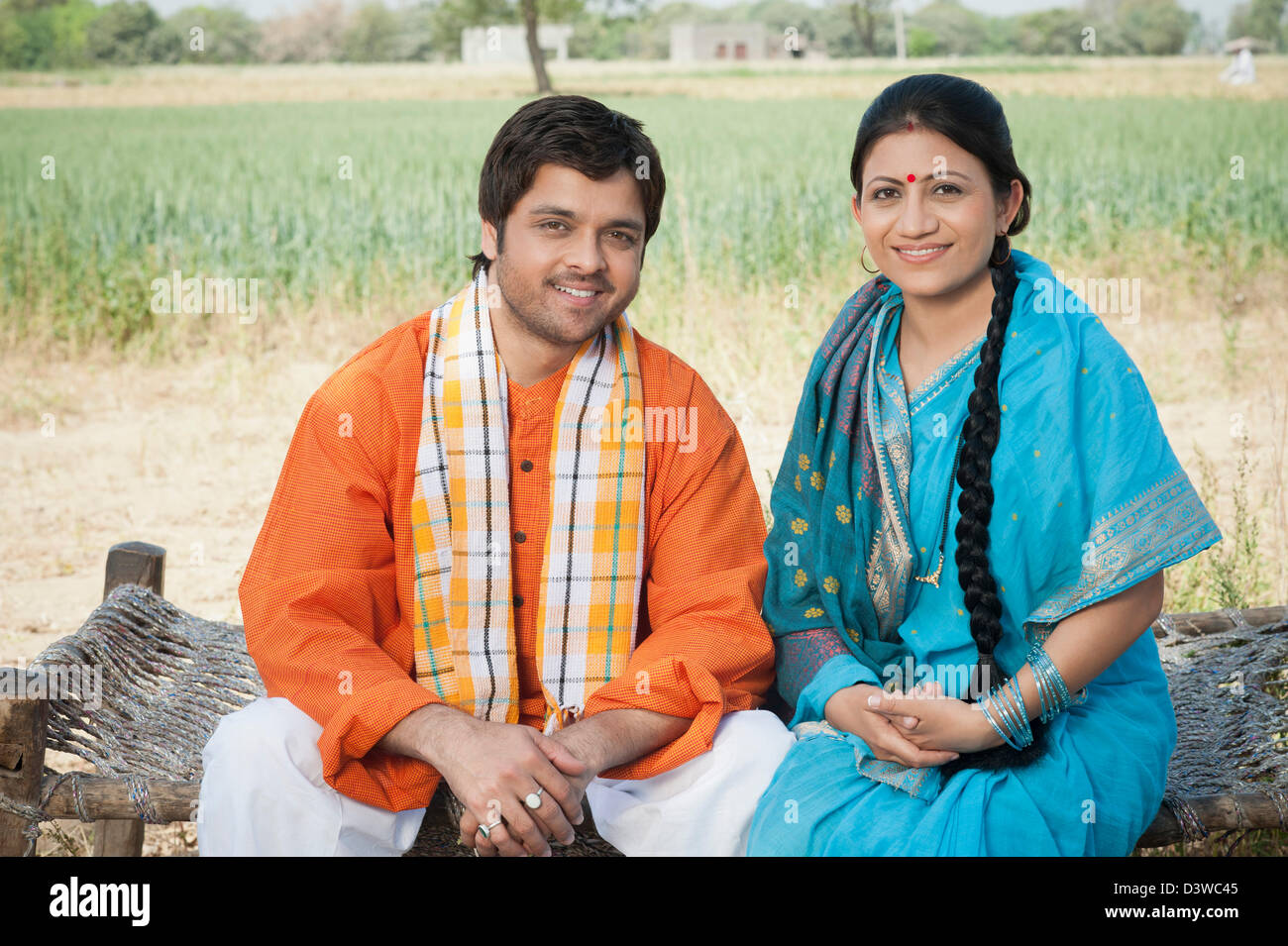 Portrait of a rural couple sohna haryana india stock image
