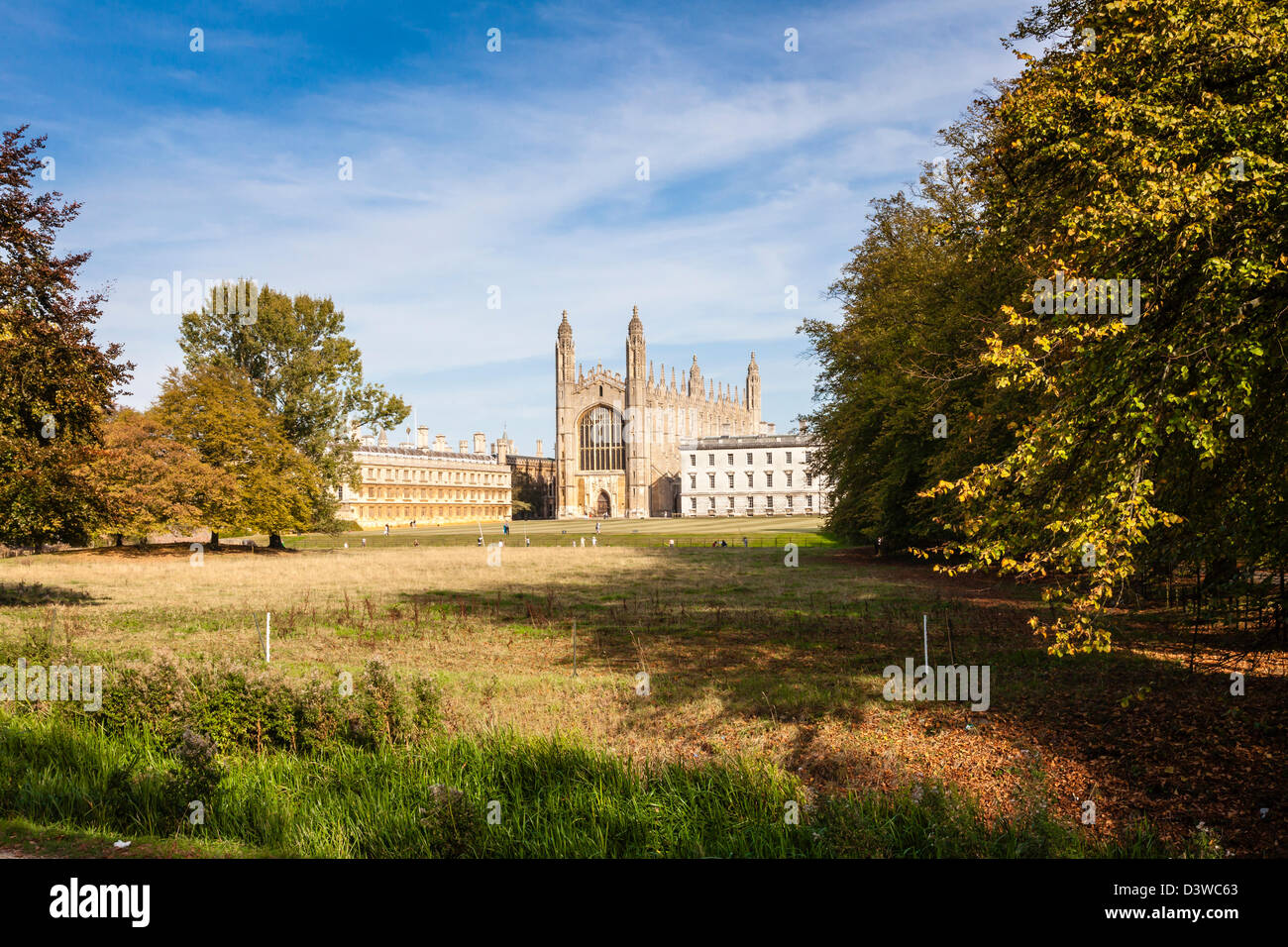 Kings college and chapel viewed across The Backs, punters on the Cam can just be seen, Autumnal light, Cambridge, - Stock Image