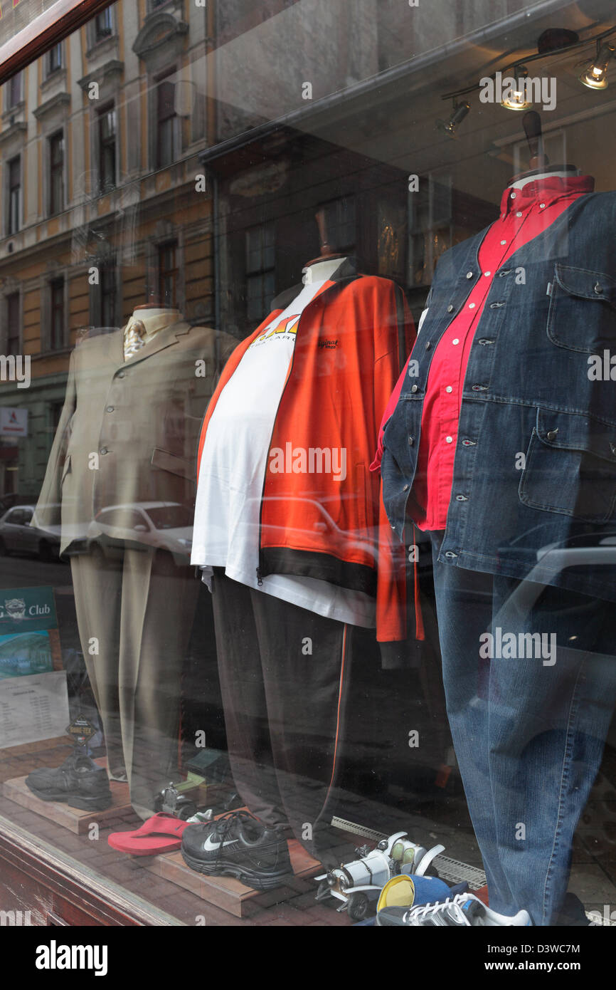 Budapest, Hungary, mannequins with big bellies - Stock Image
