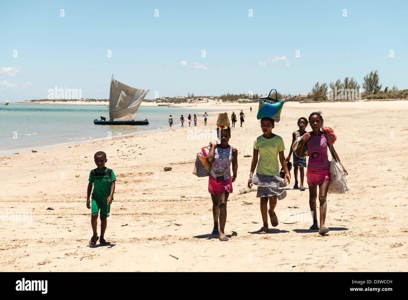 Indigenous people on the beach Vezo fisherman village South Madagascar - Stock Image