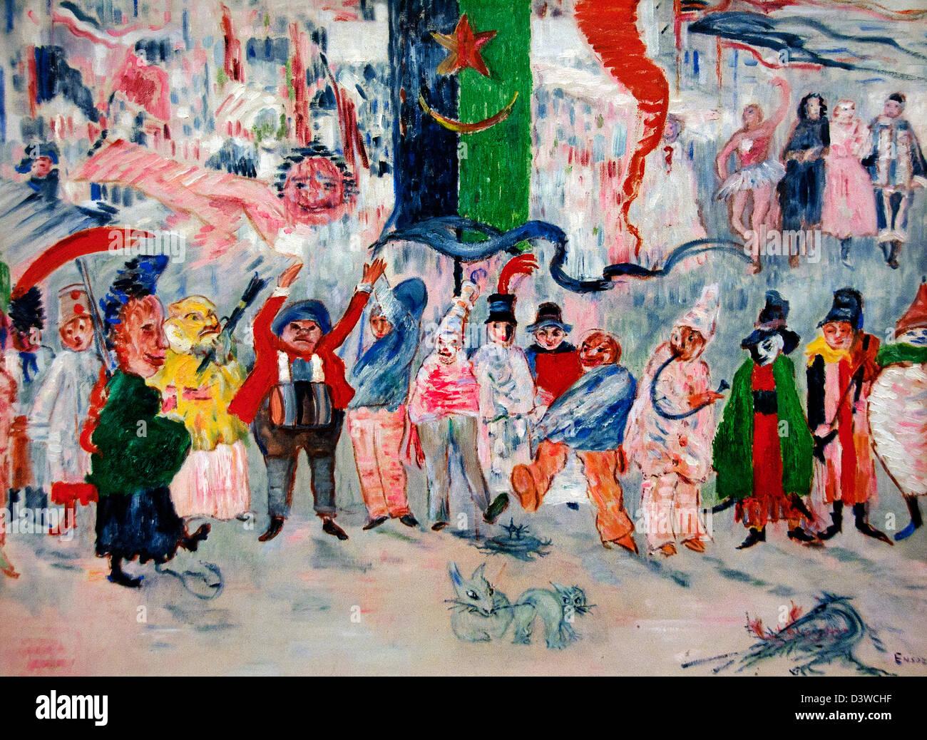 Carnival in Flanders 1929 James Ensor 1860-1949  Belgian Belgium - Stock Image