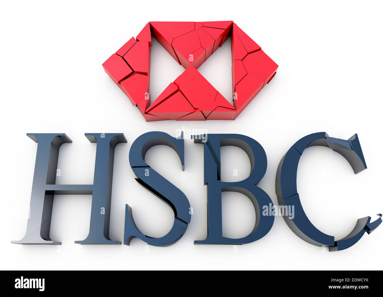 3D render of a cracking and crumbling HSBC bank logo - Concept - White background - Stock Image