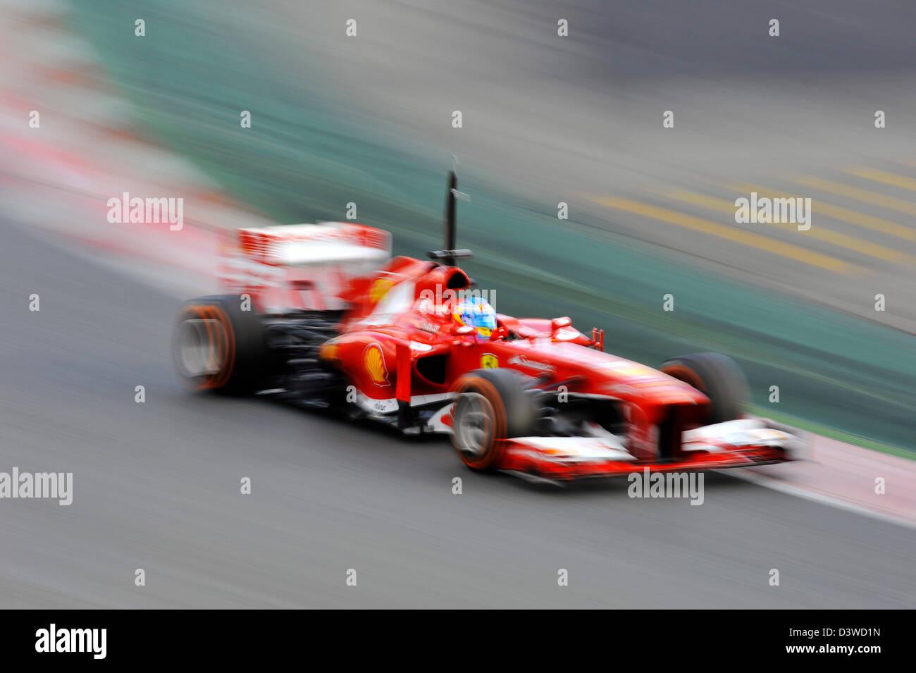 Fernando Alonso (ESP), Ferrari F138 during Formula One tests on Circuit de Catalunya racetrack near Barcelona, Spain - Stock Image