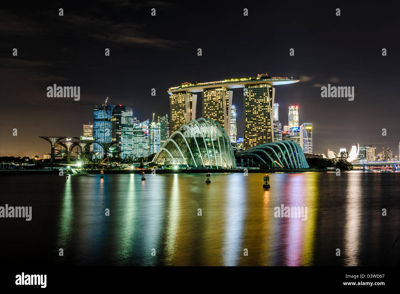 View of the Singapur Marina at night, Asia - Stock Image