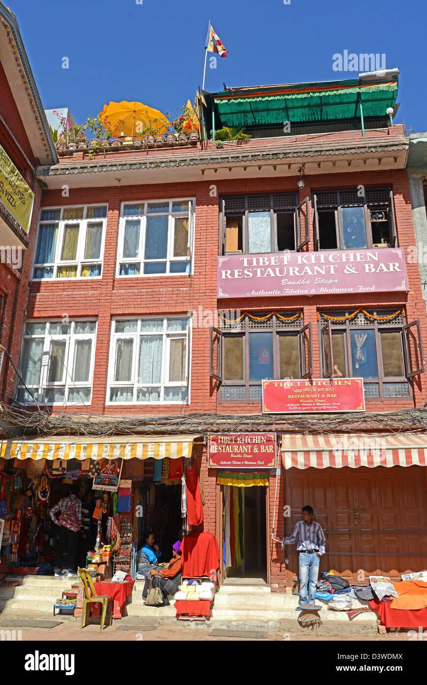 Tibet Kitchen restauravt Bodhnath Nepal - Stock Image