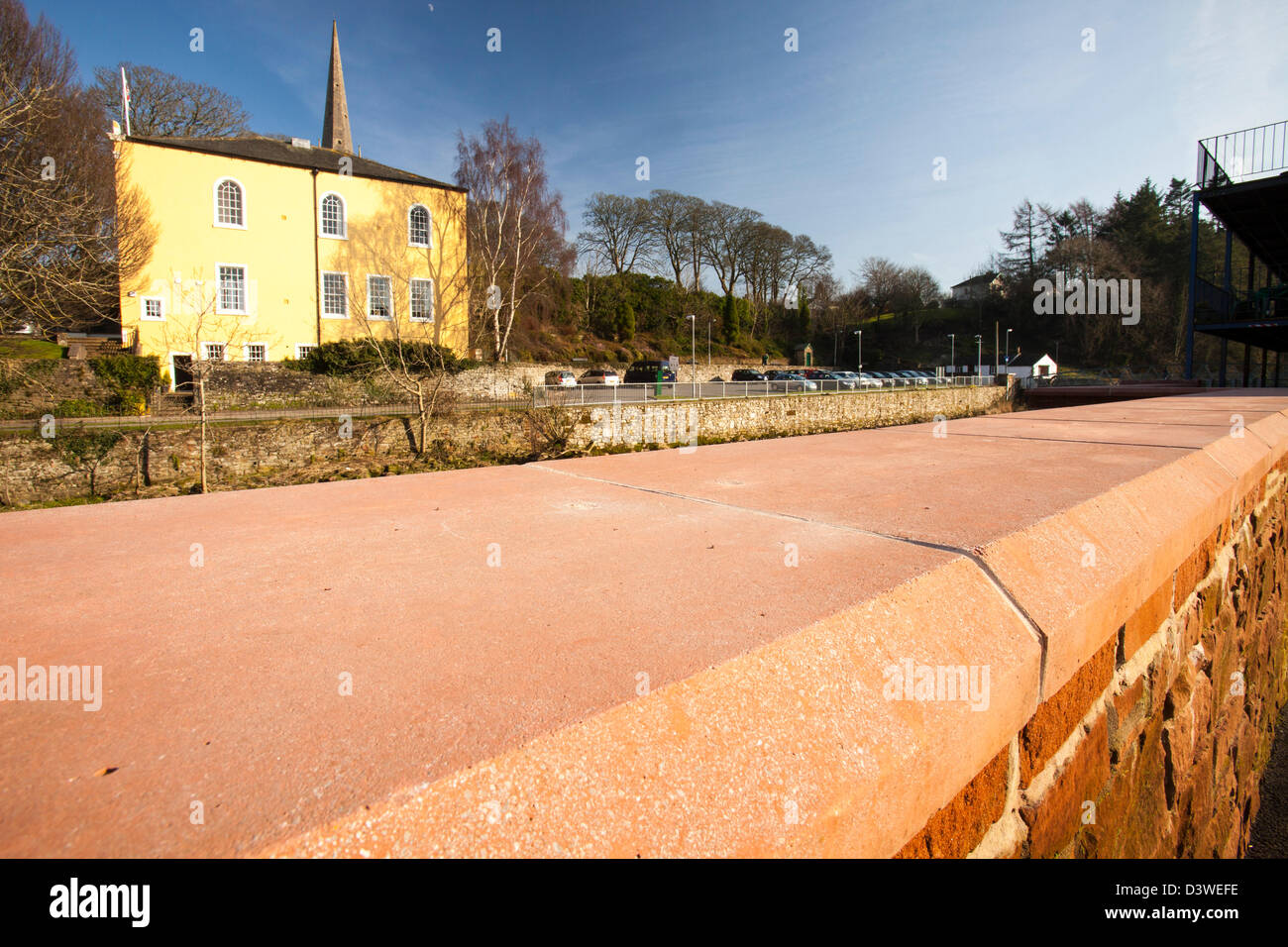 The new flood defences on the River Cocker in Cockermouth, Cumbria, UK, built after the disastrous November 2009 - Stock Image